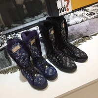 LV 2020 New Office Louis Vuitton Trending Women Fashion Print Monogram BLACK dress high KNIGHT Socks BOOT flats Mid Shoes Boots Winter Autumn with strings Best Quality