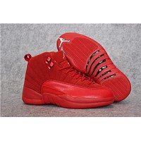 Air Jordan 12 Retro Aj 12 Red Buckskin Men Women Basketball Shoes