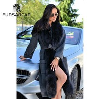 FURSARCAR Real Fur Coat Women 110 CM Long Elegant Cashmere Coat With Fox Fur Collar High Street Luxury Female Fur Coat