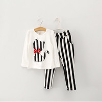 children spring long sleeve cat bowknot outfits baby shirt+stripe pants 2pcs sets