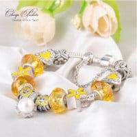 Charm Bracelet with Flower Beads