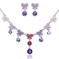 Crystal Butterfly Necklace and Crystal Earring Set - Purple