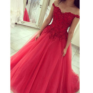 Off Shouder Red Lace Bodice Tulle Skirt Prom Dresses pst0065