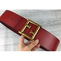Fendi 2019 new fashion wild men and women retro simple smooth buckle belt red