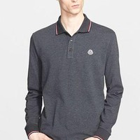 Men's Moncler Tipped Long Sleeve Polo,