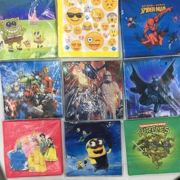 20pcs/lot mickey napkins spider-man minions tissue emoji napkins baby shower party decoration batman star wars paper napkin