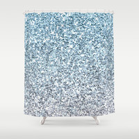 Silver Blue Glitters Sparkles Texture Shower Curtain by Tees2go | Society6