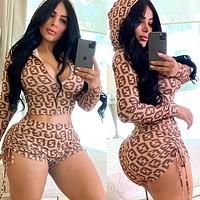 FENDI Woman Retro Casual Print Zipper Hoodie Short Sleeve Top Shorts Set Two Piece Sportswear