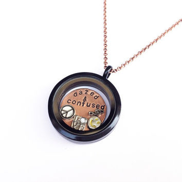 "Led Zeppelin ""Dazed & Confused"" Floating Charm Locket Necklace, Hand Stamped"