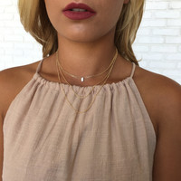 Out Till Dawn Layered Choker Necklace in Gold