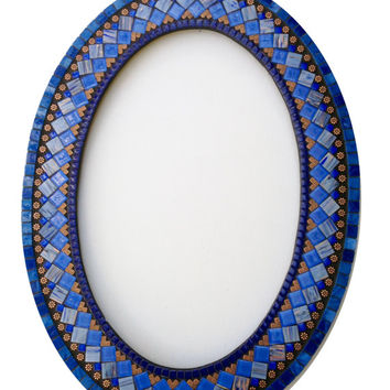 Blue and Copper Mosaic Wall Mirror, Oval Mirror, Wall Art, Mixed Media Mosaic