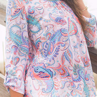 I'm With You Pink And Blue Paisley & Lace Print Chiffon Top