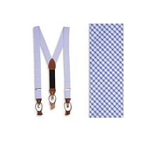 Seersucker Gingham Suspenders/ Braces in Royal Blue by High Cotton