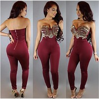Women Jumpsuits Playsuits Sexy Gold Sequined Club Overalls Bodysuits Rompers Pants Strapless Sleeveless Long Rompers Jumpsuit