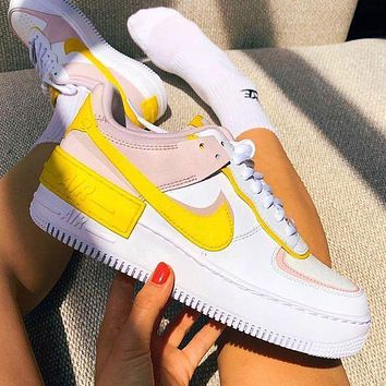 Bunchsun NIKE Air Force 1 Shadow Popular Women Casual Sport Running Shoes Sneakers White&Yellow&Pink