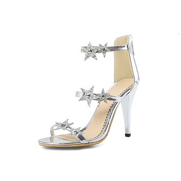 Sequined Star Stiletto Sandals High Heeled Shoes 3659