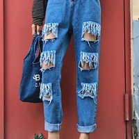 Blue Cut Out Buttons Pockets Destroyed High Waisted Mom Boyfriend Casual Long Jeans