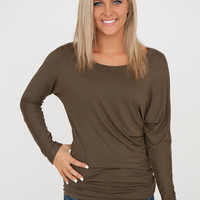 Long Sleeve Convertible Dolman Top - Olive