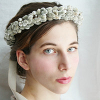 Bridal crown Rustic bridal crown boho bridal wreath Woodland rustic wedding hair accessory elven pearl bridal headpiece Ready to ship VIVIEN
