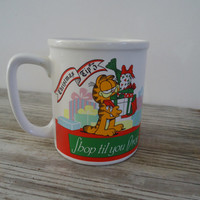 Shop Till You Drop  Garfield Cat Retro Christmas Mug Vintage 1978 Jim Davis  Cup United Feature Syndicate Animation Characters Think X-mas