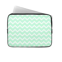 Mint Green Zigzag Stripes. Laptop Sleeve from Zazzle.com