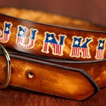 Custom Leather Name Belt with American Flag Letters / Personalized / Custom Leather Belt / American Flag Belt / Custom Fathers Day Gift