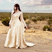 Fully Beaded Sparkle Lace Fairy Medieval Vintage Style Romantic Wedding Gown