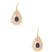 Cutout Stone Teardrop Earrings