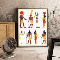 Egyptian Decor God Of Egypt Picture Canvas Painting , Ancient Egypt Canvas Print and Poster Retro Wall Art Decor