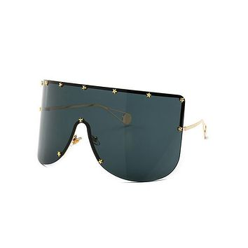 Elaiza Oversized Sunglasses - Gold Gray