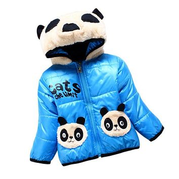 Lovely Coats Winter Baby Girl  Hooded CartoonWarm Jackets Bear Children Outerwear Jackets Toddler Thickening Parkas Kids Clothes