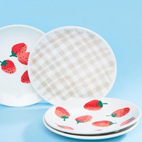 Kate Spade Strawberry & Gingham Set of 4 Acrylic Plates at asos.com