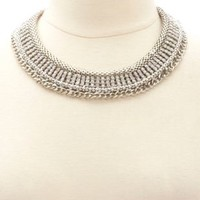 Rhinestone & Chain Choker Necklace by Charlotte Russe - Silver