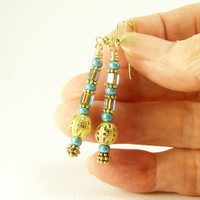 Turquoise Earrings with Gold Filigree Bead, Bali Style Earrings, Beadwork Boho Earrings, Beaded Jewelry, For Women, Handmade