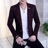 2018 the spring and autumn period and the new men's leisure suit Jacquard suits young cultivate one's morality