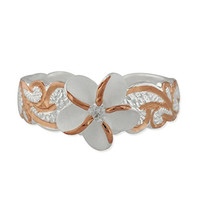 Sterling Silver with 14kt Rose Gold Plated Accents Plumeria Band Synthetic CZ Toe Ring