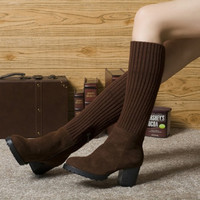Women Casual Stretchy Knitted Knee High Warm Boots Short Boots Block Heel Shoes = 1705167556