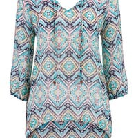 Multicolor High-Low Chiffon Blouse With Peek-A-Boo Back - Multi