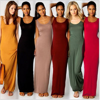 Trendy Women's SEXY Tank Sleeve Slim fit Cottom Maxi Long Dress