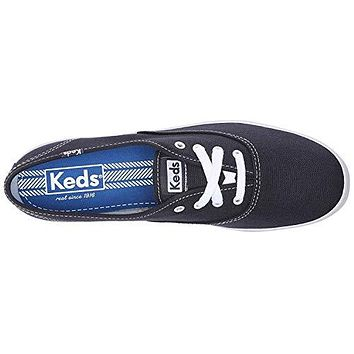 Keds Women's Champion Original Canvas Lace-Up Sneaker, Navy, 13 S US