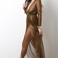 Metallic Semi-Sheer Deep V Maxi Dress