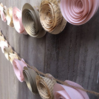 Garland Alice in wonderland book paper flowers, gold shimmer and pale pink baby shower, wedding, baby's room, home decor shabby chic