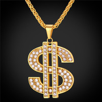 New Hip-Hop Jewelry Big Rhinestone American Dollar Necklace & Pendant Trendy Yellow Gold Plated Rope Chain For Men/Women GP2393