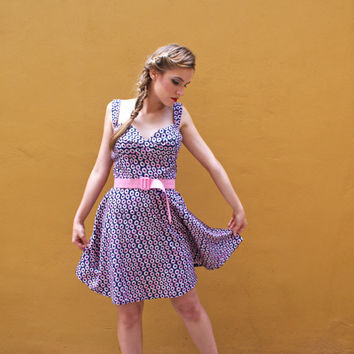 Bustier Dress Navy and Pink Donut Print FINAL SALE