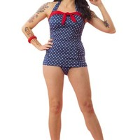 Women's Blue and White Polka Dot One Piece Swimsuit