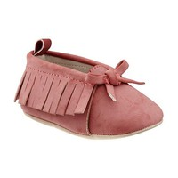 Sueded Fringe Moccasins for Baby