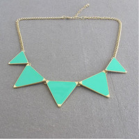 Buy one get one free Green triangle necklace by AnnyJewelry