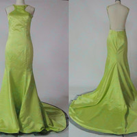 Sexy Open Back Evening Dress, Backless Prom Evening Dress,Sexy Night Gown, Yellow Sexy Satin Gown, Backless Graduation Dress Formal Dress