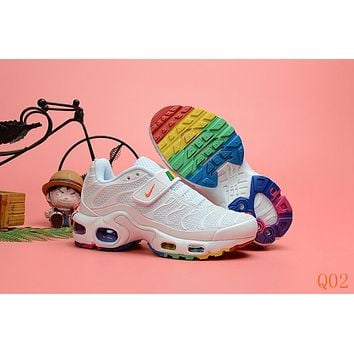 HCXX 19Aug 541 Nike Air Max Plus TN Kid Velcro Sports Fashion Air Cushion Damping Running Shoes White Color