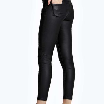 Evie Low Rise Zip Detail Wet Look Coated Jeans